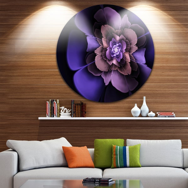 Designart 'Blue Fractal Flower in Dark' Floral Abstract Art Circle Wall Art