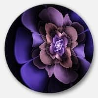 Designart 'Blue Fractal Flower in Dark' Floral Abstract Art Circle Wall Art