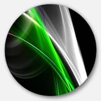 Designart 'Fractal Lines Green White' Abstract Digital Art Round Metal Wall Art