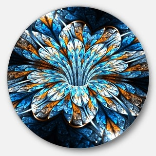 Designart 'Turquoise Fractal Flower in Dark' Floral Abstract Art Round Metal Wall Art