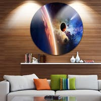 Designart 'Planet and Comet in Space' Modern Spacescape Large Disc Metal Wall art