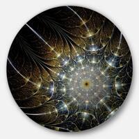 Designart 'Symmetrical Brown Fractal Flower' Digital Art Round Metal Wall Art