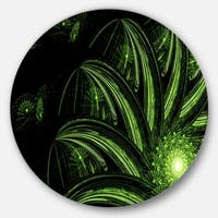 Designart 'Strange Green Flower' Floral Digital Art Round Metal Wall Art