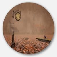 Designart 'Behind Old Time Landscape' Photo Disc Metal Wall Art