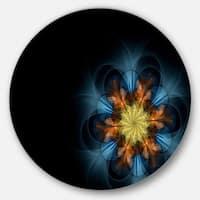 Designart 'Symmetrical Blue Orange Fractal Flower' Digital Art Large Disc Metal Wall art
