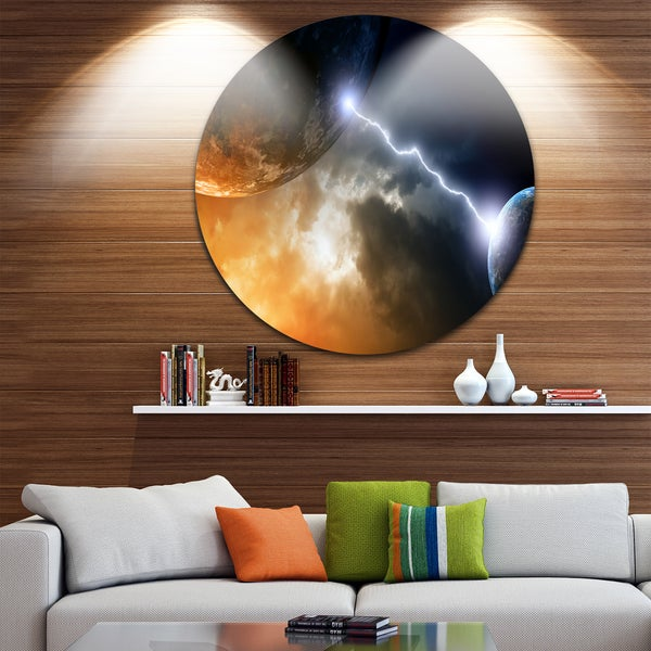 Designart 'Two Planets in Space' Modern Spacescape Round Wall Art