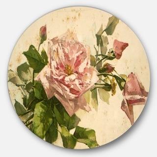 Designart 'Pink Flower Illustration' Floral Art Painting Round Wall Art