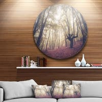 Designart 'High-rise Trees in Forest' Landscape Photo Round Metal Wall Art