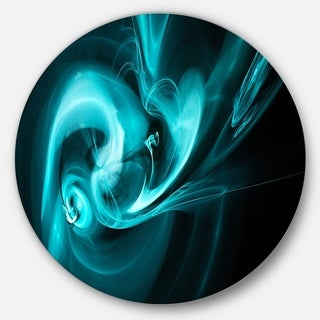Designart 'Blue Colored Smoke Pattern' Abstract Digital Art Round Metal Wall Art
