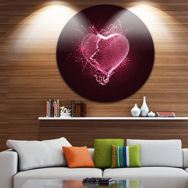 Designart 'Happy Valentine s Day' Abstract Digital Art Circle Wall Art
