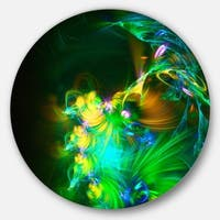Designart 'Bright Green Fractal Flower in Dark' Floral Abstract Art Disc Metal Wall Art
