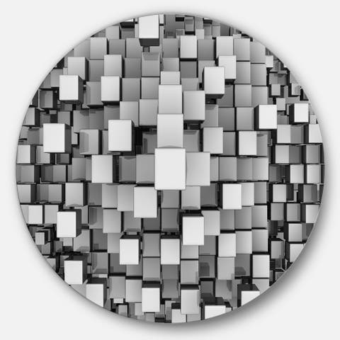 Designart 'Black and Grey Cubes' Contemporary Round Metal Wall Art