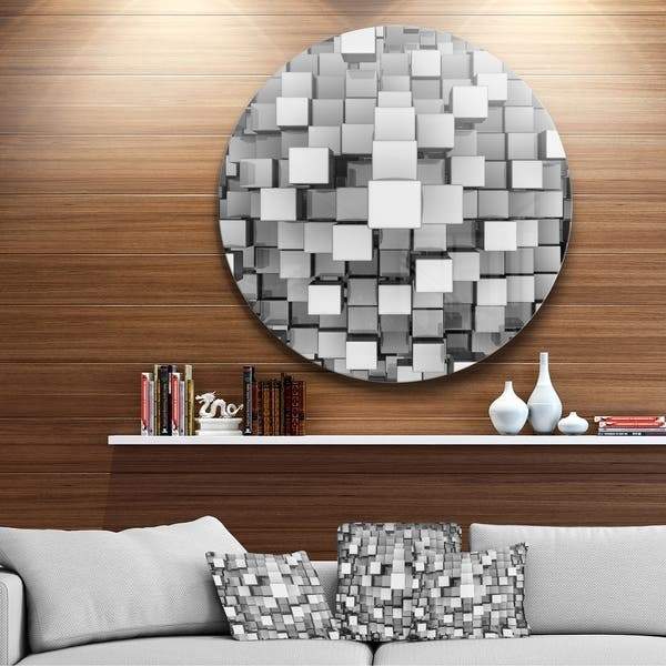 Astonishing Shop Designart Black And Grey Cubes Contemporary Round Machost Co Dining Chair Design Ideas Machostcouk