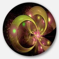 Designart 'Symmetrical Green Fractal Flower' Digital Art Floral Circle Wall Art