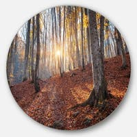 Designart 'Crimean Mountains Autumn Trees' Landscape Photo Round Wall Art