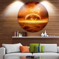 Designart 'Discontinued product' Modern Space Digital Circle Wall Art