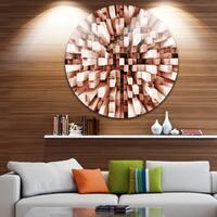 Designart 'Reflective Checkered Cube' Contemporary Round Wall Art