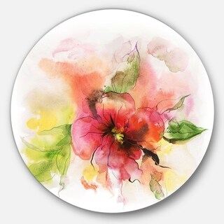 Designart 'Pink and Red Floral Design' Watercolor Floral Art Disc Metal Wall Art