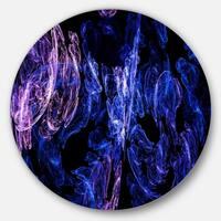 Designart 'Dark Blue Fractal Desktop Wallpaper' Abstract Digital Disc Metal Wall Art