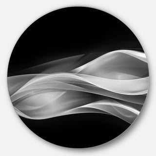 Designart 'Glittering Silver Pattern' Abstract Digital Art Round Wall Art