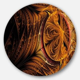 Designart 'Golden Fractal Desktop Wallpaper' Abstract Digital Disc Metal Artwork