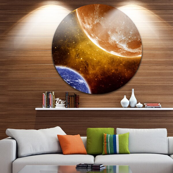 Designart 'Earth and Moon' Modern Space Digital Large Disc Metal Wall art