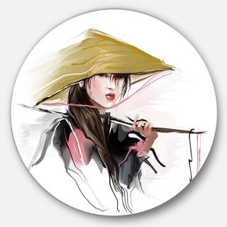 Designart 'Vietnamese Woman' Digital Art Portrait Large Disc Metal Wall art