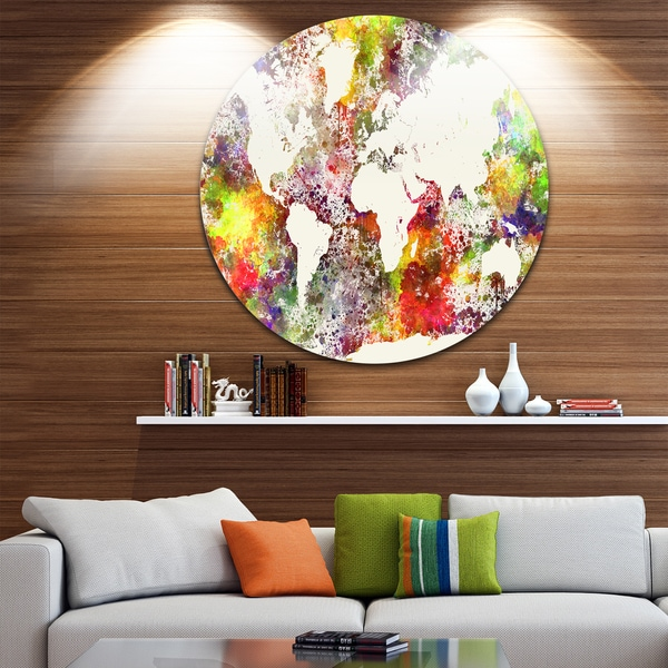 Designart 'World Map in Great Colors' Watercolor Map Round Wall Art