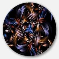 Designart 'Blue Fractal Light Art in Dark' Abstract Abstract Art Round Wall Art