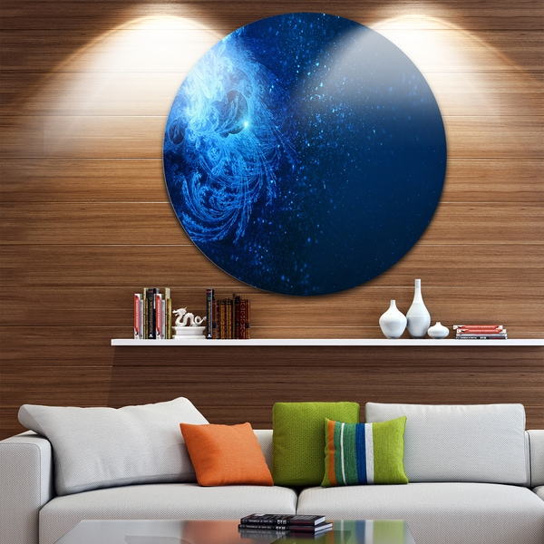 Designart 'Blue Falling Snow' Abstract Digital Art Round Metal Wall Art