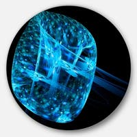 Designart 'Blue Fractal Cube in Dark' Abstract Abstract Art Disc Metal Wall Art