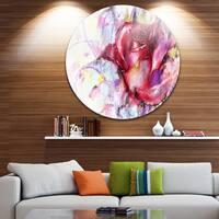 Designart 'Red Rose Illustration' Digital Art Floral Circle Wall Art
