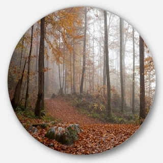 Designart 'Autumn Forest in Germany' Landscape Photo Round Wall Art