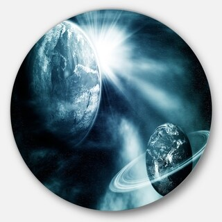 Designart 'Space View with Two Planets' Modern Spacescape Circle Wall Art