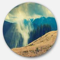 Designart 'Blue Forest in Fog' Landscape Photo Disc Metal Wall Art
