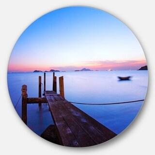 Designart 'Wooden Pier at Dusk' Seascape Photo Round Wall Art