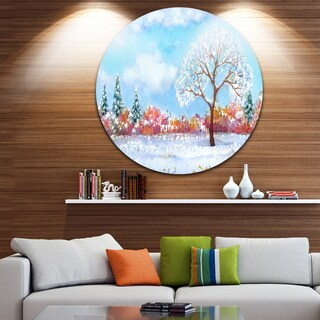 Designart 'Tree in Winter' Watercolor Painting Landscape Disc Metal Wall Art