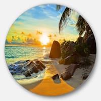 Designart 'Sunset in Tropical Beach' Landscape Photo Large Disc Metal Wall art