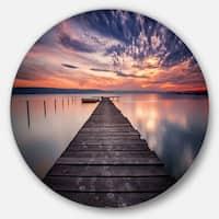 Designart 'Colorful Sunset Over Lake' Landscape Photo Disc Metal Wall Art