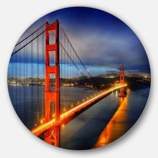Designart 'Golden Gate Bridge' Landscape Photo Disc Metal Wall Art