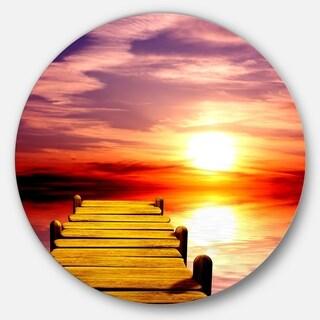 Designart 'Burning Sunset in Blue Sky' Seascape Photo Round Metal Wall Art