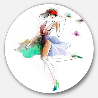 Designart 'Fashion Girl in Multiple Colors' Portrait Large Disc Metal Wall art