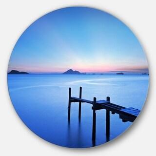 Designart 'Wooden Pier in Blue Sea' Seascape Photo Large Disc Metal Wall art