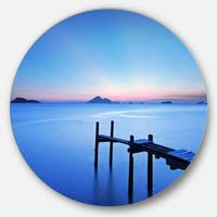 Designart 'Wooden Pier in Blue Sea' Seascape Photo Large Disc Metal Wall art