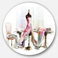 Designart 'Dressed Tabletop Mannequin' Digital Art Round Wall Art