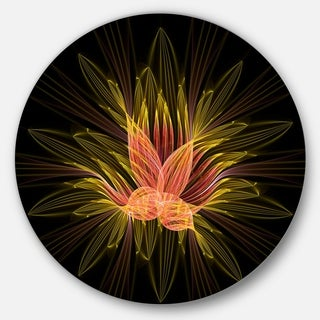 Designart 'Yellow Red Fractal Flower in Dark' Floral Abstract Art Large Disc Metal Wall art