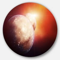 Designart 'Planets with Rising Star' Modern Spacescape Round Wall Art