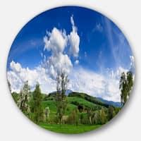 Designart 'Green Blue Spring Landscape' Photo Disc Metal Wall Art