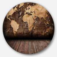 Designart 'Vintage Map with Wooden Floor' Contemporary Round Metal Wall Art
