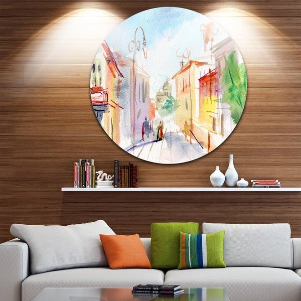 Shop Designart \'Illustrated Parisian Street\' Watercolor Cityscape ...